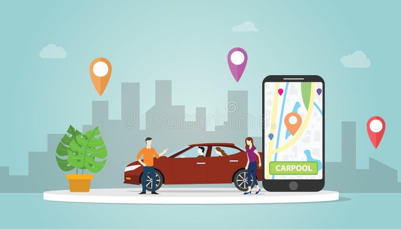 Αυτοκίνητο Carpool που μοιράζεται την τεχνολογία έννοιας για τους ανθρώπους στην αστική διαδρομή θέσης ΠΣΤ χρήσης πόλεων με το σύ διανυσματική απεικόνιση