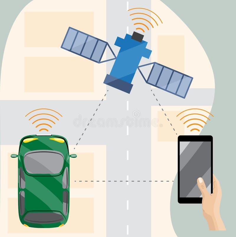 Αυτοκίνητο Driverless στην πόλη, άποψη άνωθεν ελεύθερη απεικόνιση δικαιώματος