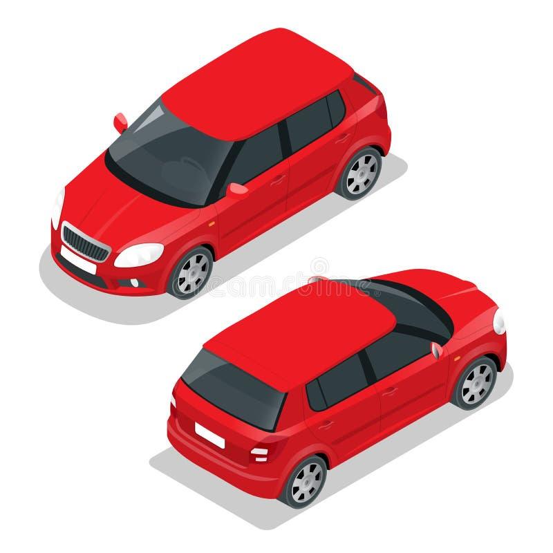 Αυτοκίνητο Hatchback Επίπεδη τρισδιάστατη διανυσματική isometric απεικόνιση Υψηλός - εικονίδιο μεταφορών ποιοτικών πόλεων ελεύθερη απεικόνιση δικαιώματος
