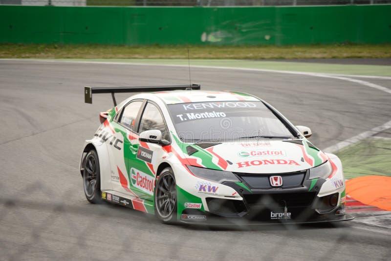 Αυτοκίνητο Honda Civic WTCC σε Monza στοκ εικόνες