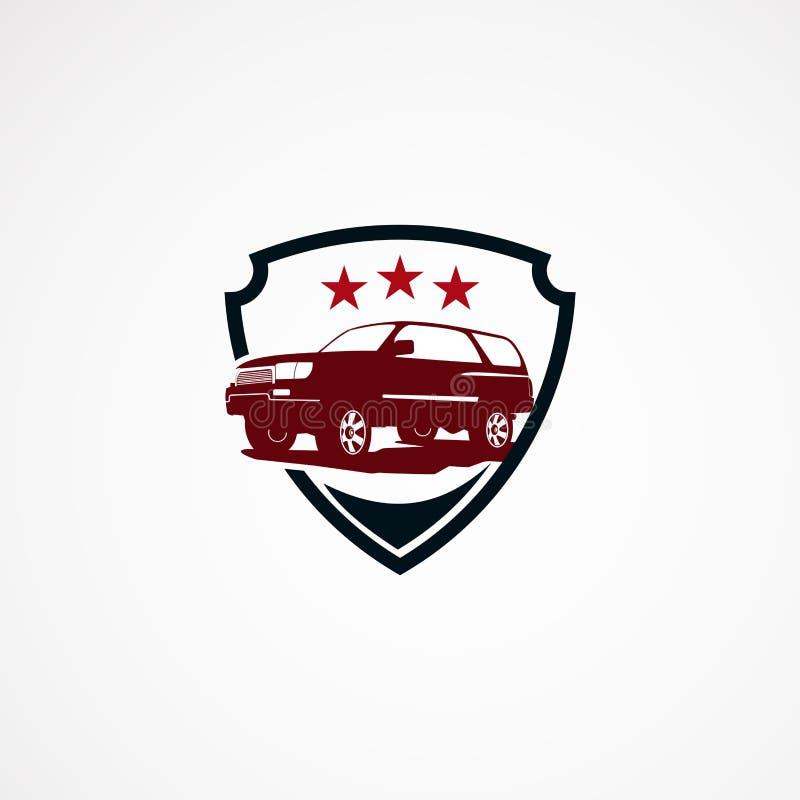 Αυτοκίνητο Suv ασφαλές με την έννοια σχεδίων λογότυπων αστεριών για την επιχείρηση απεικόνιση αποθεμάτων