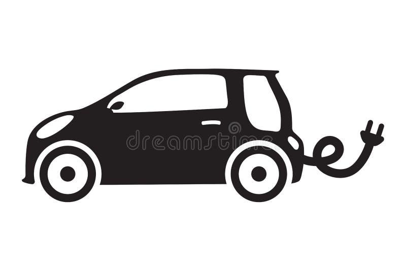 Αυτοκινήτων απομονωμένο οικολογία elictric διανυσματικό αυτοκίνητο εικονιδίων οχημάτων πράσινο διανυσματική απεικόνιση
