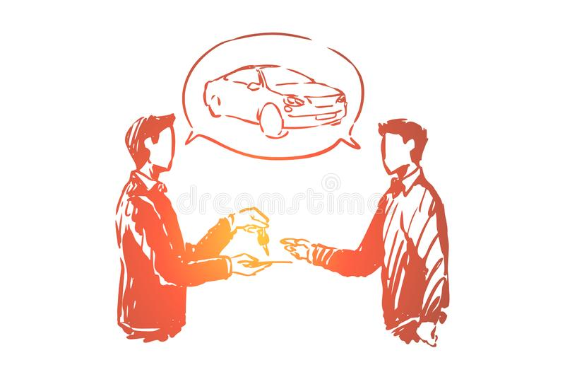Αυτοκινητική αίθουσα εκθέσεως, μεταφορά αγοράς ατόμων, πωλητής που δίνουν τα κλειδιά πελατών, πελάτης και προμηθευτής που κάνουν  ελεύθερη απεικόνιση δικαιώματος
