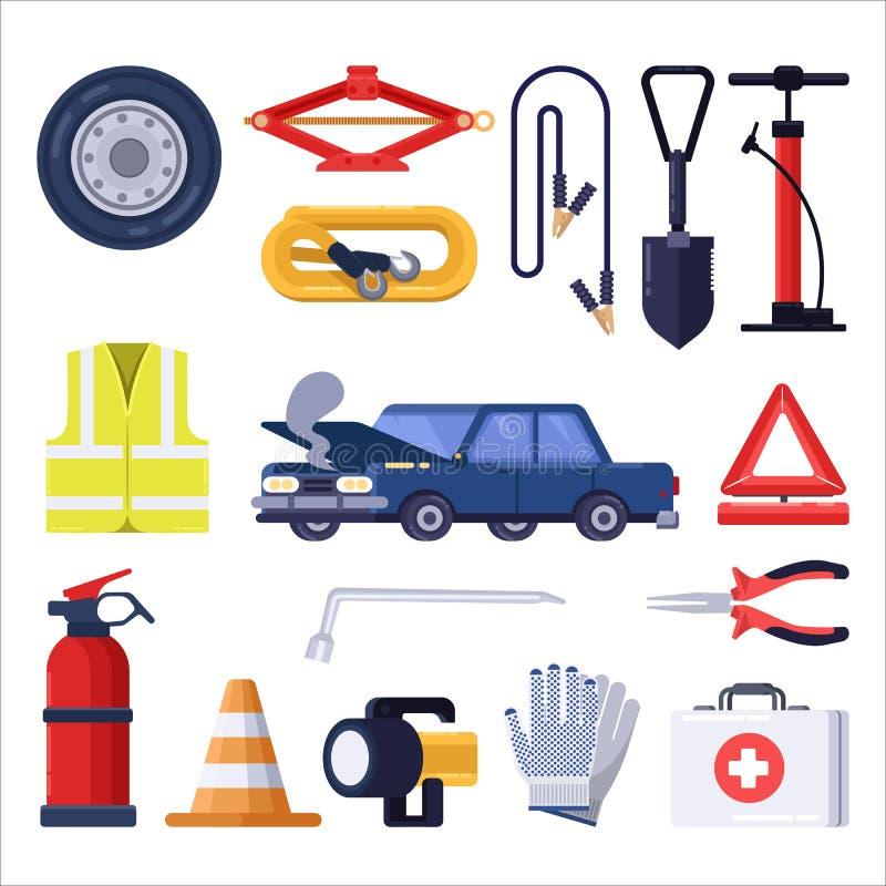 Αυτοκινητική εξάρτηση οδικής έκτακτης ανάγκης Εργαλεία επισκευής και ασφάλειας αυτοκινήτων Διανυσματική επίπεδη απεικόνιση ελεύθερη απεικόνιση δικαιώματος