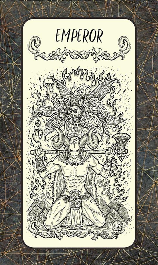 αυτοκράτορας Η μαγική κάρτα πυλών tarot διανυσματική απεικόνιση