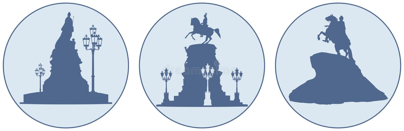 Αυτοκράτορες των μνημείων της Ρωσίας στη Αγία Πετρούπολη διανυσματική απεικόνιση