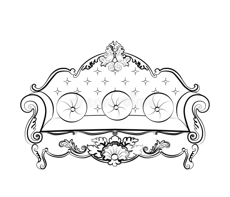 Αυτοκρατορικός βασιλικός καναπές με τις κλασικές διακοσμήσεις απεικόνιση αποθεμάτων