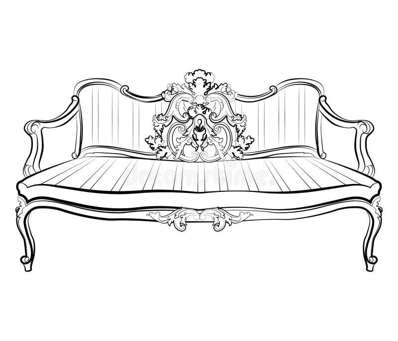 Αυτοκρατορικός βασιλικός καναπές με τις κλασικές διακοσμήσεις ελεύθερη απεικόνιση δικαιώματος