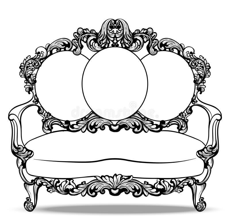 Αυτοκρατορικός μπαρόκ καναπές με τις πολυτελείς διακοσμήσεις Διανυσματική γαλλική πλούσια περίπλοκη δομή πολυτέλειας Βικτοριανό β ελεύθερη απεικόνιση δικαιώματος
