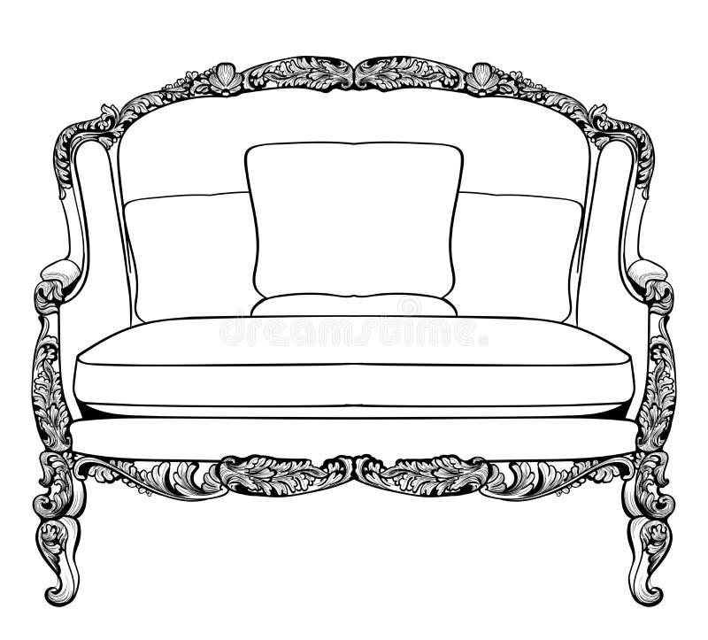 Αυτοκρατορικός μπαρόκ καναπές με τις πολυτελείς διακοσμήσεις Διανυσματική γαλλική πλούσια περίπλοκη δομή πολυτέλειας Βικτοριανό β διανυσματική απεικόνιση