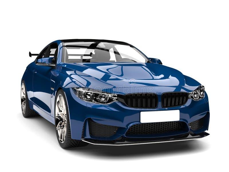 Αυτοκρατορικός μπλε σύγχρονος αθλητισμός που περιοδεύει το αυτοκίνητο - πυροβολισμός κινηματογραφήσεων σε πρώτο πλάνο μπροστινής  διανυσματική απεικόνιση