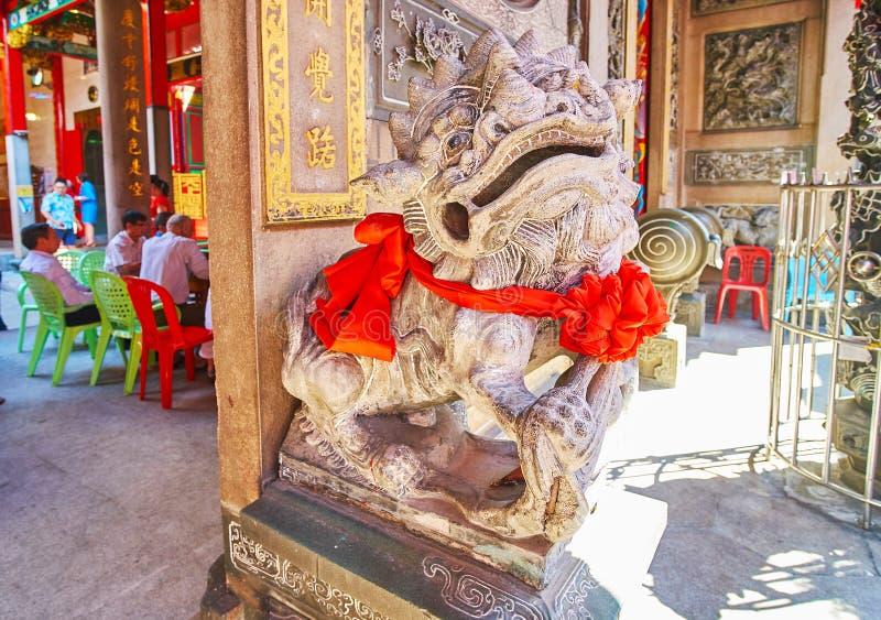 Αυτοκρατορικό λιοντάρι φυλάκων του κινεζικού ναού, Yangon, το Μιανμάρ στοκ εικόνες με δικαίωμα ελεύθερης χρήσης