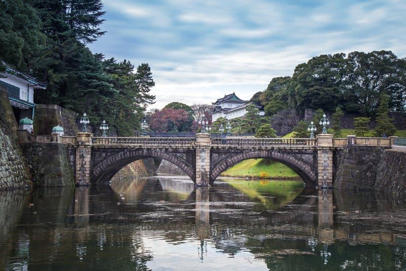 Αυτοκρατορικό παλάτι της Ιαπωνίας με την όμορφη αντανάκλαση γεφυρών και νερού στοκ εικόνες