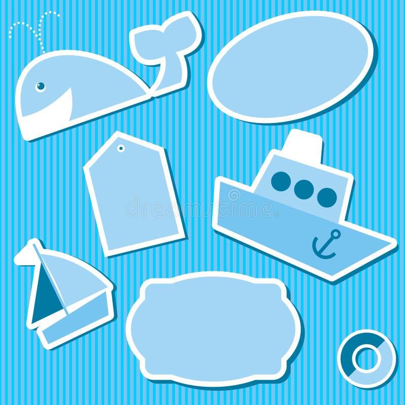 Αυτοκόλλητες ετικέττες για το λεύκωμα αποκομμάτων διανυσματική απεικόνιση