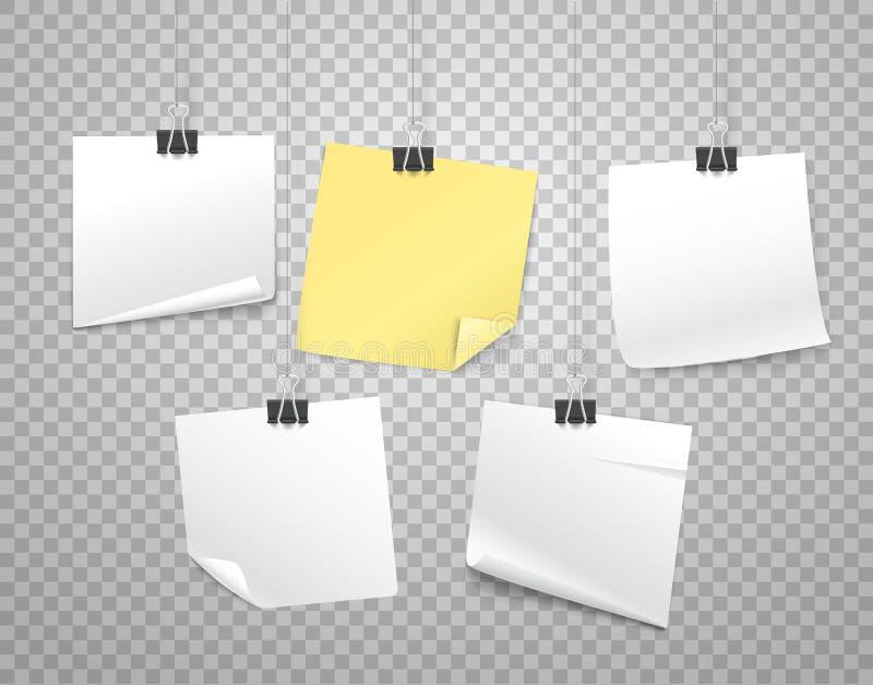 Αυτοκόλλητες ετικέττες εγγράφου στη διανυσματική απεικόνιση γάντζων απεικόνιση αποθεμάτων