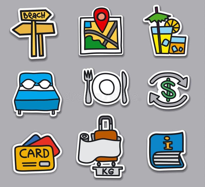 Αυτοκόλλητες ετικέττες και διακριτικά ταξιδιού καθορισμένες απεικόνιση αποθεμάτων