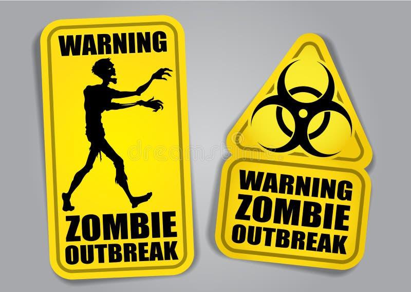 αυτοκόλλητες ετικέττες ξεσπάσματος ετικετών που προειδοποιούν zombie διανυσματική απεικόνιση