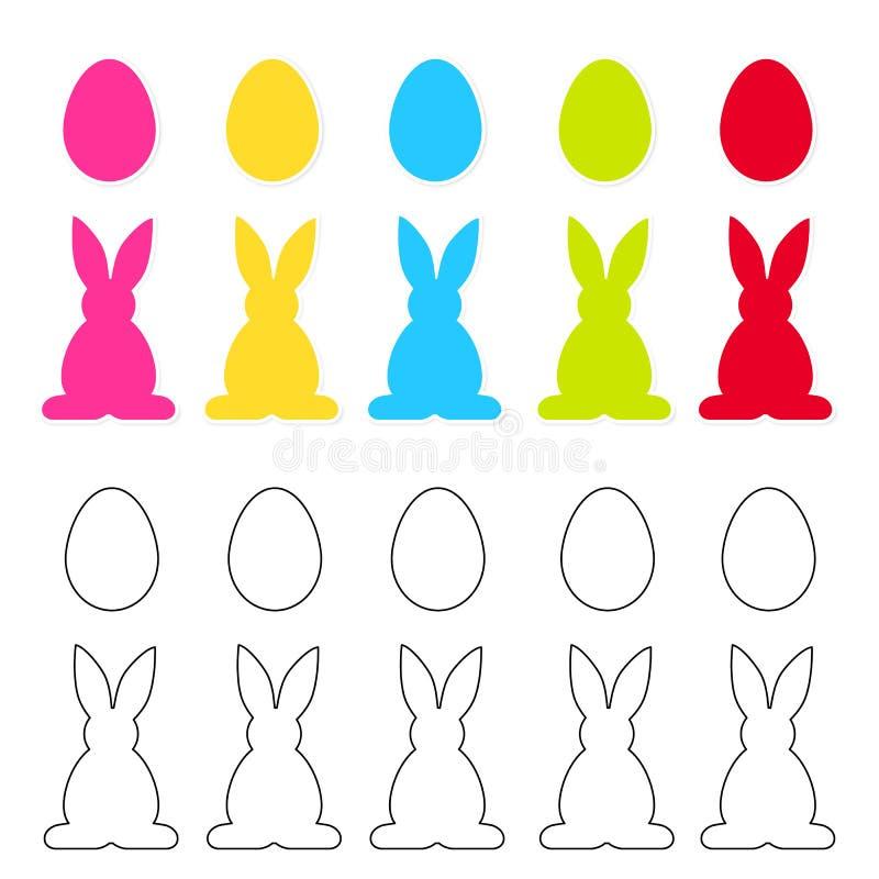 Αυτοκόλλητες ετικέττες Πάσχας με τα ζωηρόχρωμα αυγά και κουνέλια που απομονώνονται στο λευκό απεικόνιση αποθεμάτων