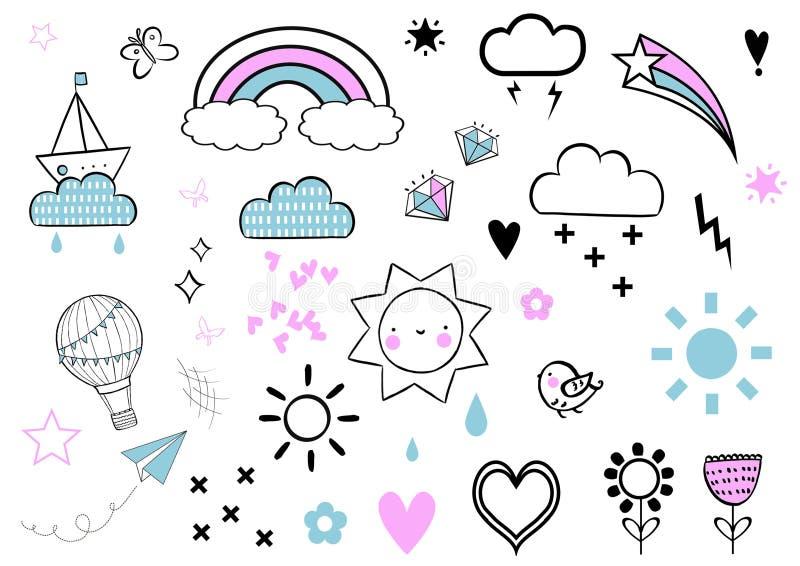 Αυτοκόλλητες ετικέττες που τίθενται με το ουράνιο τόξο, το αστέρι, το σύννεφο, την καρδιά, το αστέρι, τον ήλιο, το πουλί και το μ ελεύθερη απεικόνιση δικαιώματος