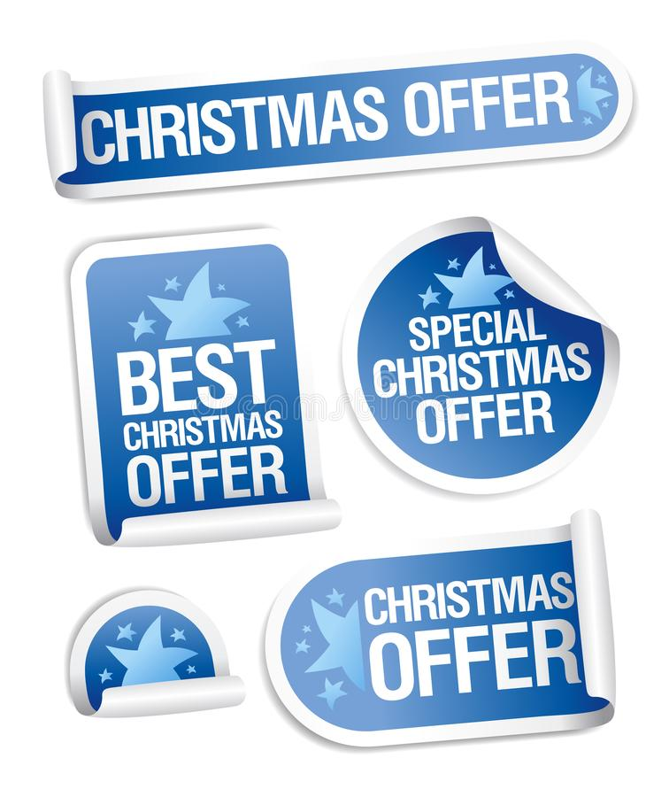 Αυτοκόλλητες ετικέττες προσφοράς πώλησης Χριστουγέννων καθορισμένες ελεύθερη απεικόνιση δικαιώματος
