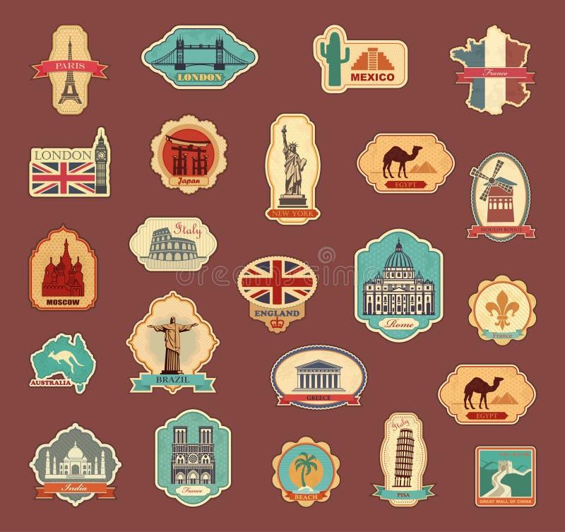 Αυτοκόλλητες ετικέττες ταξιδιού και διαφορετικές χώρες συμβόλων διανυσματική απεικόνιση