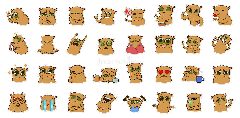 Αυτοκόλλητη ετικέττα για τον αγγελιοφόρο με τον αστείο χαρακτήρα χάμστερ Emoticons, emoji για τις συνομιλίες Χρωματισμένο σύνολο  απεικόνιση αποθεμάτων