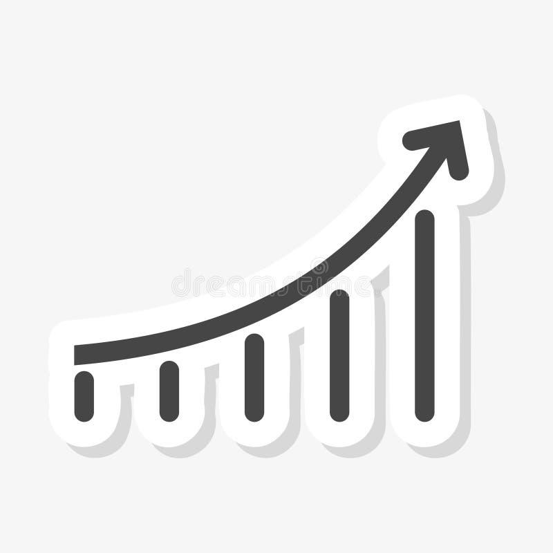 Αυτοκόλλητη ετικέττα διαγραμμάτων αύξησης διανυσματική απεικόνιση