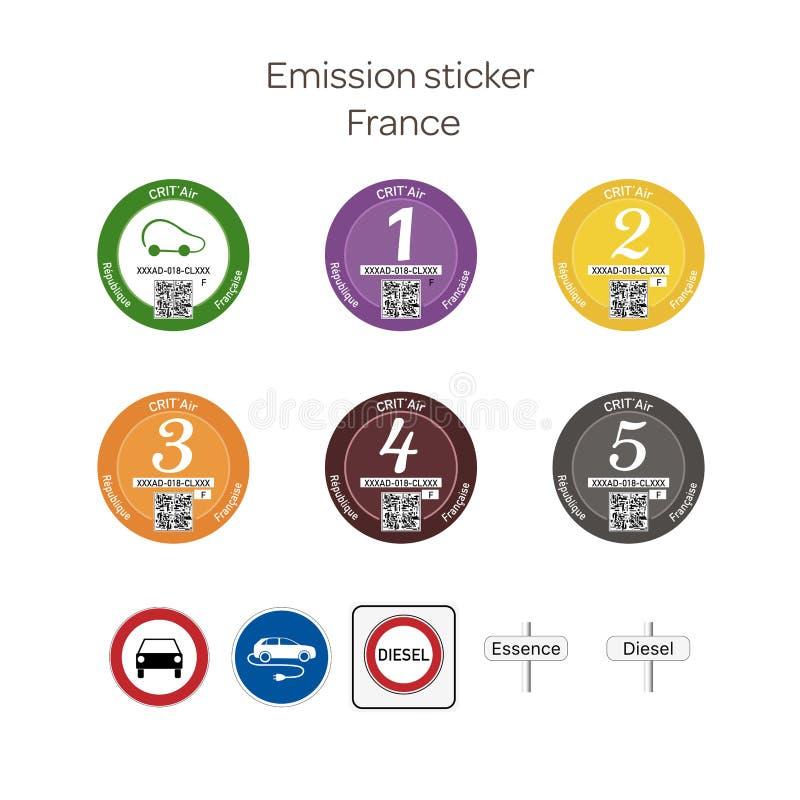 Αυτοκόλλητη ετικέττα εκπομπής - Γαλλία ελεύθερη απεικόνιση δικαιώματος