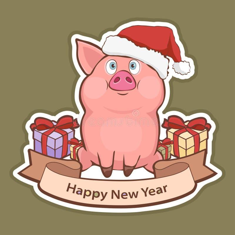 Αυτοκόλλητη ετικέττα καλής χρονιάς, κάρτα με έναν χαριτωμένο αστείο χοίρο στο καπέλο Santa, κιβώτια δώρων και ταινία χαιρετισμού  ελεύθερη απεικόνιση δικαιώματος