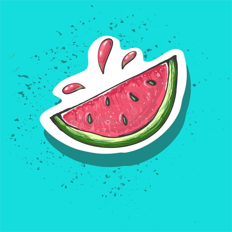 Αυτοκόλλητη ετικέττα κινούμενων σχεδίων καρπουζιών Γλυκιά ετικέτα φρούτων Μπάλωμα και τυπωμένη ύλη για την μπλούζα, ύφασμα, ενδύμ διανυσματική απεικόνιση