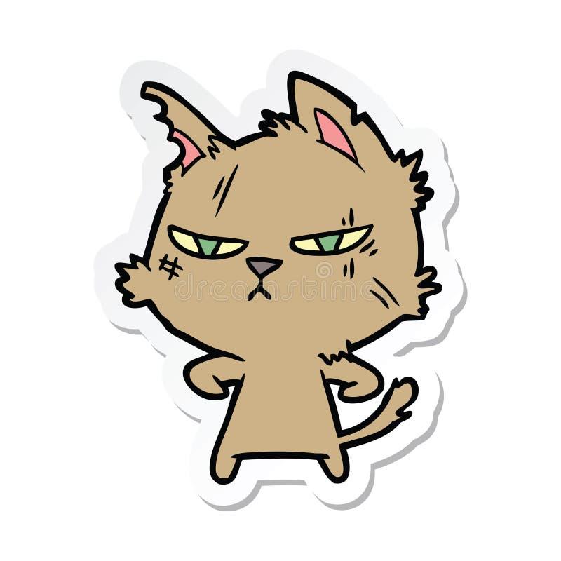 αυτοκόλλητη ετικέττα μιας σκληρής γάτας κινούμενων σχεδίων ελεύθερη απεικόνιση δικαιώματος