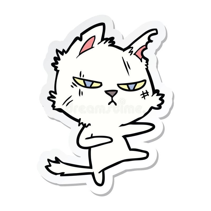 αυτοκόλλητη ετικέττα μιας σκληρής γάτας κινούμενων σχεδίων απεικόνιση αποθεμάτων