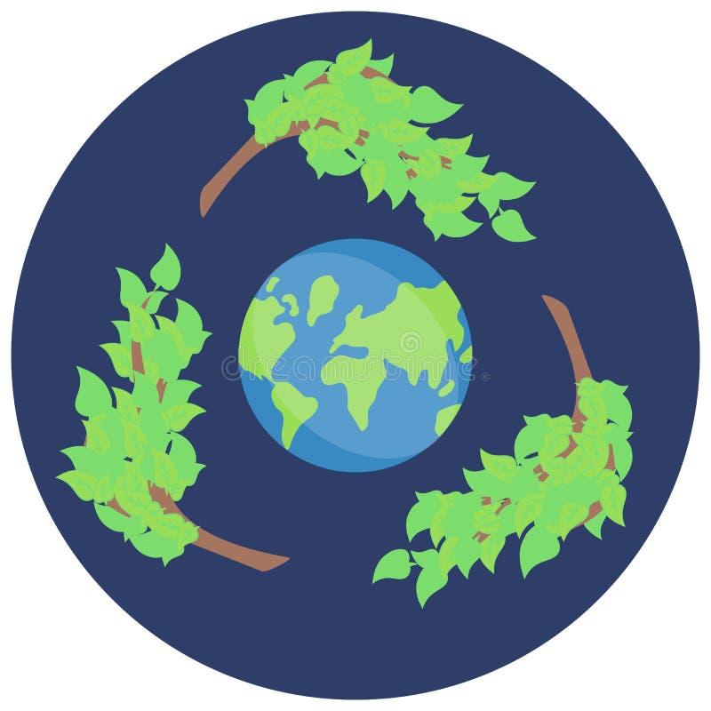 Αυτοκόλλητη ετικέττα που ανακυκλώνει, εκτός από τον πράσινο πλανήτη, το eco εικονιδίων διανυσματική απεικόνιση