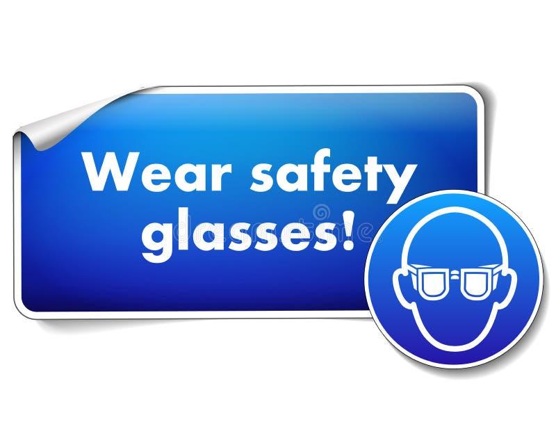 Αυτοκόλλητη ετικέττα σημαδιών γυαλιών ασφάλειας ένδυσης με το υποχρεωτικό σημάδι που απομονώνεται στο άσπρο υπόβαθρο ελεύθερη απεικόνιση δικαιώματος