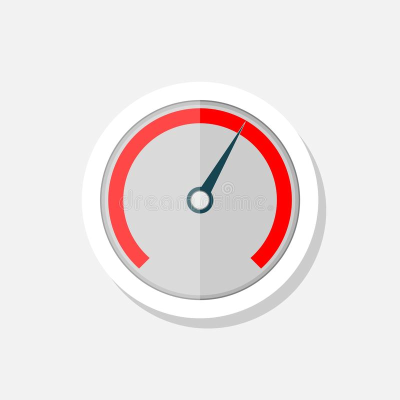 Αυτοκόλλητη ετικέττα ταχυμέτρων στο άσπρο υπόβαθρο Απλό σημάδι εικονιδίων ταχυμέτρων διανυσματική απεικόνιση