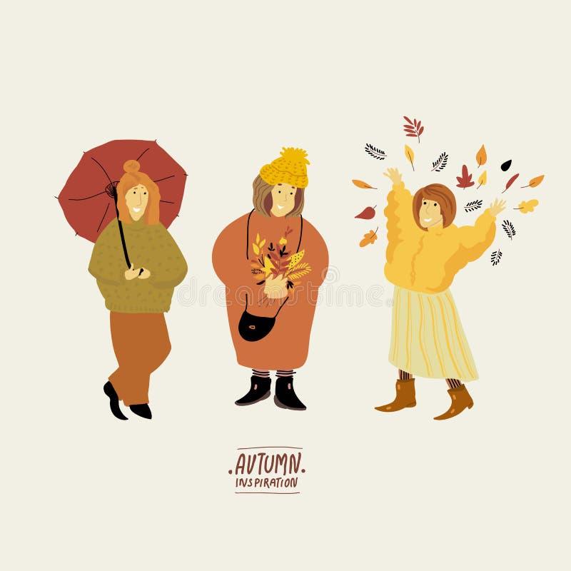 Αυτοκόλλητη ετικέττα φθινοπώρου συλλογής Χαριτωμένα κορίτσια κινούμενων σχεδίων φθινοπώρου με τα στοιχεία πτώσης Σύνολο αντικειμέ ελεύθερη απεικόνιση δικαιώματος