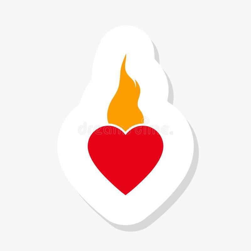 Αυτοκόλλητη ετικέττα φλογών καρδιών Σημάδι συγκίνησης πυρκαγιάς αγάπης Σύμβολο ημέρας βαλεντίνων απεικόνιση αποθεμάτων