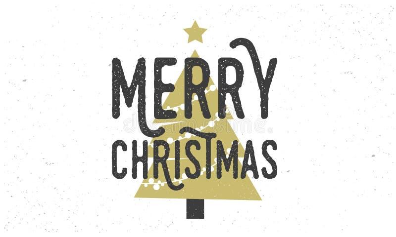 Αυτοκόλλητη ετικέττα Χαρούμενα Χριστούγεννας 2019, γραμματόσημο Εκλεκτής ποιότητας αφίσα με τη σκιαγραφία κειμένων και χριστουγεν απεικόνιση αποθεμάτων