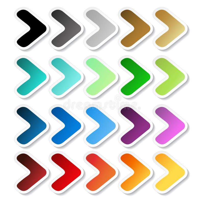 Αυτοκόλλητες ετικέττες βελών Μαύρη, γκρίζα, ασημένια, σκοτεινή, χρυσή, κυανή, τυρκουάζ, μπλε, πράσινη, πορφυρή, κόκκινη, πορτοκαλ ελεύθερη απεικόνιση δικαιώματος