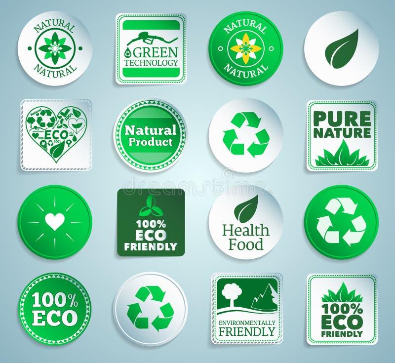 Αυτοκόλλητες ετικέττες, ετικέτες και κουμπιά Eco διανυσματική απεικόνιση
