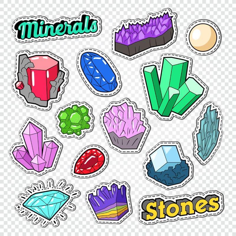Αυτοκόλλητες ετικέττες, διακριτικά και μπαλώματα πολύτιμων λίθων Πέτρες Doodle κοσμήματος με το διαμάντι, το κρύσταλλο και τα μετ απεικόνιση αποθεμάτων