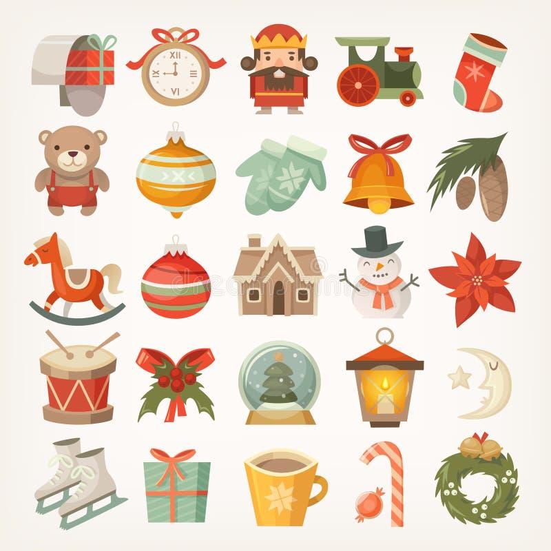 Αυτοκόλλητες ετικέττες και εικονίδια Χριστουγέννων απεικόνιση αποθεμάτων