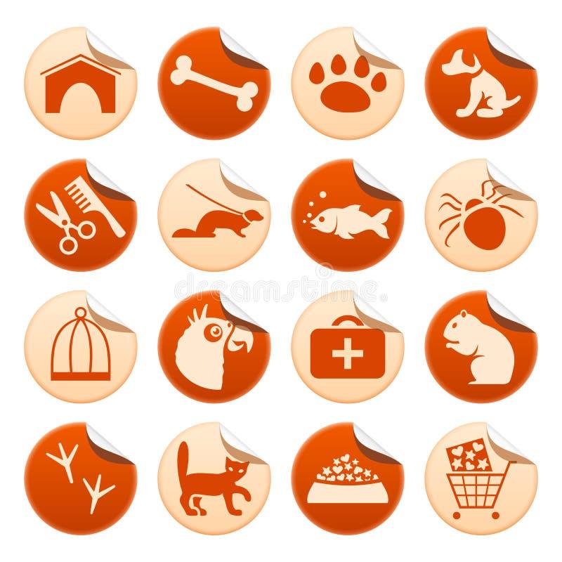 Αυτοκόλλητες ετικέττες κατοικίδιων ζώων ελεύθερη απεικόνιση δικαιώματος