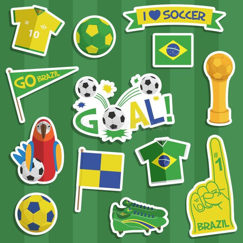 Αυτοκόλλητες ετικέττες ποδοσφαίρου της Βραζιλίας απεικόνιση αποθεμάτων