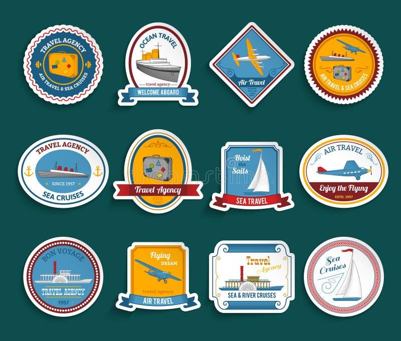 Αυτοκόλλητες ετικέττες ταξιδιωτικών γραφείων κρουαζιέρας καθορισμένες ελεύθερη απεικόνιση δικαιώματος