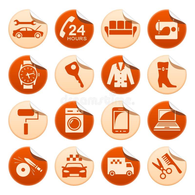 Αυτοκόλλητες ετικέττες υπηρεσιών και επισκευής διανυσματική απεικόνιση