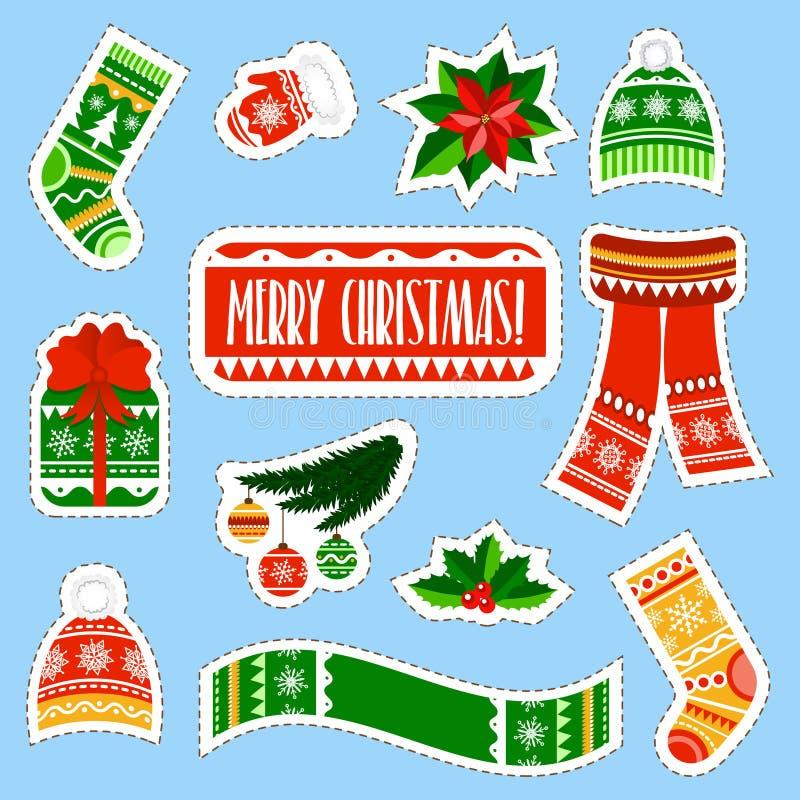 Αυτοκόλλητες ετικέττες Χριστουγέννων καθορισμένες Αυτοκόλλητες ετικέττες ουσίας χειμερινών παιδιών καθορισμένες διανυσματική απεικόνιση