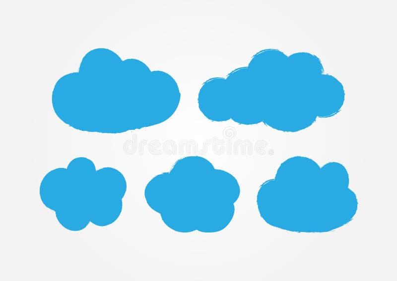 Αυτοκόλλητες ετικέττες Grunge υπό μορφή σύννεφων Σύνολο πέντε μπλε εικονιδίων που χρωματίζονται με μια βούρτσα διανυσματική απεικόνιση