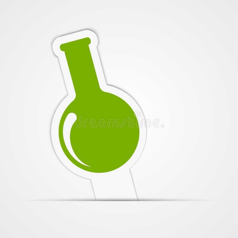 Αυτοκόλλητη ετικέττα εγγράφου Σωλήνας δοκιμής για τη βιολογία ή τη χημεία απομονωμένη ωθώντας s κουμπιών γυναίκα έναρξης χεριών α διανυσματική απεικόνιση