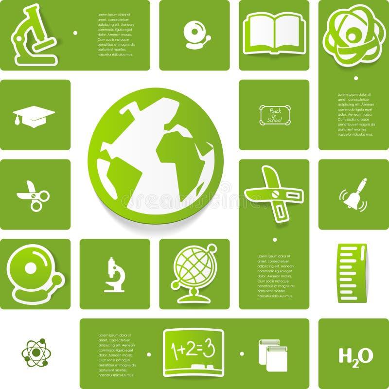 Αυτοκόλλητη ετικέττα εκπαίδευσης infographic διανυσματική απεικόνιση